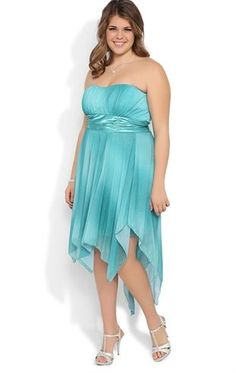 29659e480ec Plus Size Ombre Glitter Strapless Prom Dress with Hanky Hem