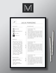 Modern 2 Page Resume Template 1 Page Cover Letter MS Word