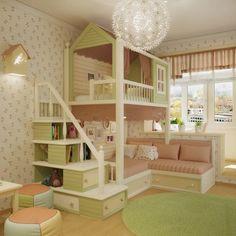 Quarto de menina para sonhar e brincar / Quarto de menina / Chambre de fille pour . Baby Bedroom, Bedroom Decor, Kids Room Design, Teen Girl Bedrooms, Little Girl Rooms, Cool Beds, Kid Beds, Beds For Girls, Dream Rooms