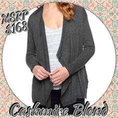 Cashmere Blend Splendid Cardigan in Charcoal grey A splendid gray cardigan size XS but can fit larger since its a none closing cardigan. If you have thin arms like me, even an xl can fit this. I only wore it once to work before dress code changed. Still has the pink string where the tag was attached!Trades, sales only Effortlessly stylish draped Cashmere Blend Cardigan. Pairs perfectly with jeans and a tank or over a body-con dress Asymmetrical front creates a cozy drape Open front cardigan…