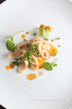 Geoduck Sashimi : Green Onions : Shanxi Vinegar : Chili Oil