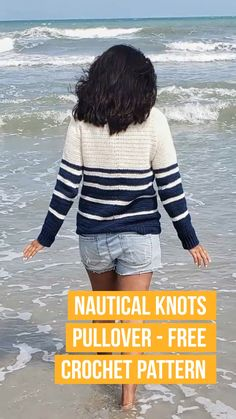 Free Pattern Free Women - Nautical Knots Pullover Thanks tajabeck for this post.Free crochet pullover pattern for women. Great crochet pullover sweater pattern for summer. Lovely free crochet pattern for a women's pullover for the warm season# Free Crochet Pullover Pattern, Crochet Cardigan Pattern, Jumper Patterns, Crochet Patterns, Knitting Patterns, Pull Crochet, Mode Crochet, Raglan Pullover, Beanie Boos