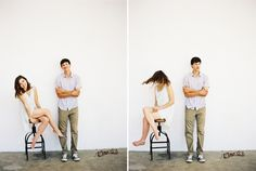 Natural Engagement Photos Stool Spin Blue White