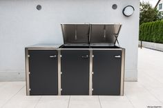 3er m lltonnenbox holz anthrazit grau reihenhausgarten pinterest. Black Bedroom Furniture Sets. Home Design Ideas