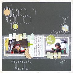 "Love the hexagon outlines on this layout. ""wanna go home"" at Studio Calico"