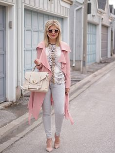 4.15 perfectly pink (Windsor Store trench + Zara shirt + ILY Couture necklace + GAP jeans + 424 Fifth ankle strap pumps + Gigi NY satchel)