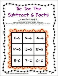 FUN Subtraction practice! Tic Tac Toe Subtraction games from Games 4 Learning - 22 game boards $
