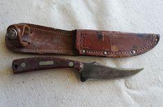 SOLD  Vintage Old Timer Schrade Hunting Knife 152 USA Leather Sheath w/ Boy Scout Logo #Schrade