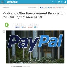 http://mashable.com/2013/05/15/report-paypal-to-offer-free-payment-processing-for-qualifying-merchants/ ... | #Indiegogo #fundraising http://igg.me/at/tn5/