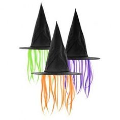 Your classic black witches hat with some funky hair attached! Green, orange, pink or purple? 'Witch' colour will you choose to complete your hair-raising look! Creepy Halloween, Halloween Fancy Dress, Halloween Make Up, Halloween Party, Halloween Costumes, Halloween Witches, Fancy Dress Accessories, Halloween Accessories, Thing 1