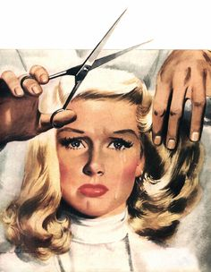 Reluctant Haircut, art by Jon Whitcomb. Detail from August 31, 1946 Collier's Magazine cover.