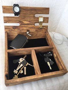 Your place to buy and sell all things handmade Wooden Watch Box, Wooden Boxes, Perfect Christmas Gifts, Desk Organization, Solid Wood, Organize, Routine, Essentials, Rustic