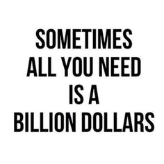 LOL!!! Made me giggle, cause it is true that sometimes all you need is a billion dollars :)