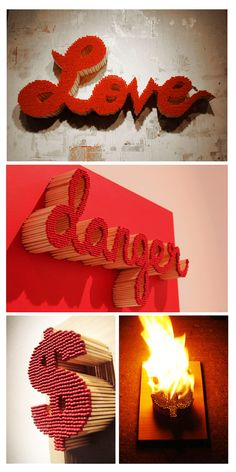 """These amazing matchstick sculptures are created by Pei-San Ng. They are created by painstakingly glueing each matchstick to a hand drawn image. She will often set her work on fire for an added affect. She says, """"The reason I use matchsticks is to create two artworks in one, an object and a performance."""" We are blow away by her inventive works of art!"""