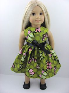 Butterfly Dots Doll Dress for the American Girl  by The Whimsical Doll 2, 11.00