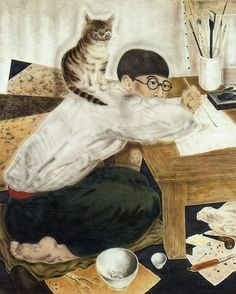 Cats in Art and Illustration: Tsuguharu Foujita self-portrait with cat. Sculpture Textile, Art Textile, Art And Illustration, Gatos Cats, Magic Realism, Art Database, Japanese Artists, Geisha, Asian Art