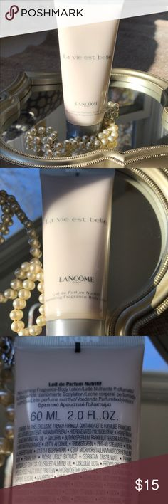 """La Vie Est Belle - Lotion By Lancôme Authentic & unused! 60 ml. """"La vie est belle"""" is a flirty, warm but fresh fragrance- perfect for everyday! The lotion will leave your skin velvety soft, the scent is subtle & uplifting. Life indeed is beautiful :) Lancome Makeup"""