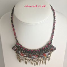 Hippy Chick    Material and Chain Collar Necklace