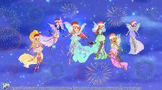 Winx Club Christmas Wallpaper With Firework Effect by DaisukeDarkness