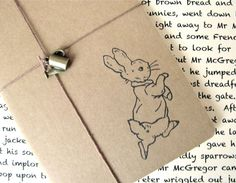 Peter Rabbit  Beatrix Potter  Hand Stamped Small by TwoStrayCats, $11.00