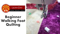 Learn the basics of walking foot machine quilting with Leah Day as she shows you how to stitch in the ditch and machine quilt easy straight lines. Find the q...