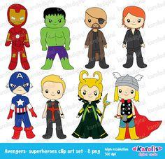 conjunto de superhéroes pinza digital arte  uso por karolisdigital, $5.50
