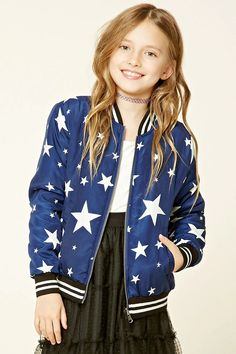 Forever 21 Girls - A woven bomber jacket featuring an allover star print, contrast metallic stripes on ribbed trim, zip-up front, two front slanted pockets, and long sleeves.