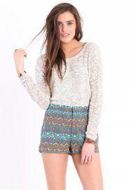 high-waisted print shorts