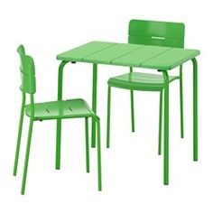 IKEA - VÄDDÖ, Table+2 chairs, outdoor, green, , Takes little room to store as the table folds flat and the chair is stackable.The materials in this outdoor furniture require no maintenance.