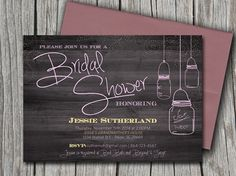 Mason Jar Wood Bridal Shower Invitation, Rustic Wedding Shower Microsoft Word Template - Country Pastel Pink Blue Yellow | INSTANT DOWNLOAD by PaintTheDayDesigns, $7.75