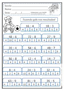 MARCANDO GOL COM O RESULTADO! FATOS PARA 4º ANO/ 5ºANO - Alfabetizar com AMOR Math Quizzes, Dyslexia Activities, Kids Math Worksheets, Multiplication, Activities For 6 Year Olds, Math Sheets, Math Division, Preschool Writing, Montessori Math
