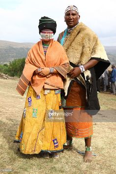 Xhosa Mandla Mandela (grandson of former SA president Nelson Mandela) and his French wife Anais Grimaud during their wedding ceremony at the Mvezo Royal Palace on March 2010 in Eastern Cape, South Africa.