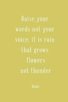 """""""Raise your words not your voice. It is rain that grows flowers not thunder."""" - Rumi"""
