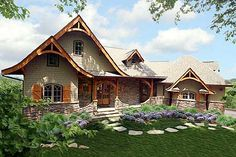 Garrell Associates, Inc.Hot Springs Cottage House Plan Front Elevation, Mountain House Plans, Design by Michael W. Tudor Style Homes, Cottage Style Homes, Cottage House Plans, Cob House Plans, Country Homes, Cottage Ideas, Porches, Mountain House Plans, Mountain Cottage