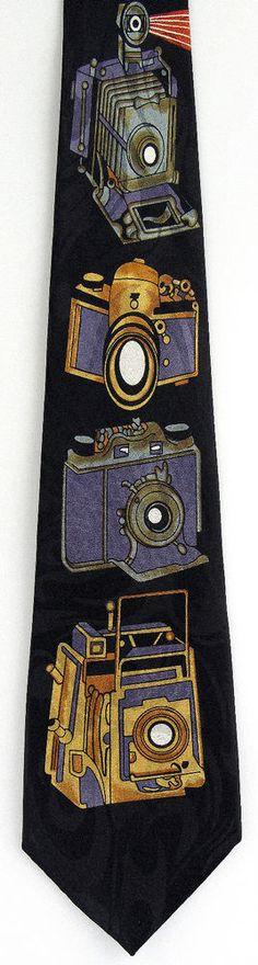Retro Cameras Mens Necktie Photogrpahy Film Photograph Fun Gift Neck Tie New C #StevenHarris #NeckTie