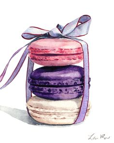 Giclee print of original watercolor painting of three pastel colored Laduree French macarons in pink, violet, and ivory, stacked and tied up with a periwinkle satin bow with burgundy trim. Rose, plum, and vanilla flavored macarons are the perfect afternoon treat with tea. Dress up your walls with a pastel assortment of French macarons! Makes a perfect addition to a nursery or a little girls room too! Archival inks on Strathmore 400 watercolor paper - stiff body, slight texture 11x14 inch…