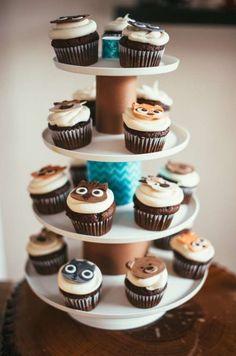 Boys Woodland Themed First Birthday Party Dessert Cupcake Ideas
