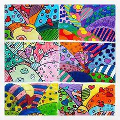 Mis alumnos de Primaria también son talentosos, hicieron hermosos trabajos con acuarela inspirados en el trabajo del artista Romero Britto