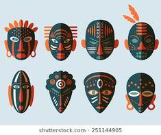Illustration of African Mask Icons. Tribal ritual symbols vector art, clipart and stock vectors. Arte Tribal, Tribal Art, African Logo, Tribal Rituals, Tribal Images, Afrique Art, Art Premier, Art Textile, Masks Art