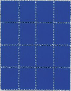 Yves Klein (French, 1928-1962), Suite de seize timbres bleus, 1957-1959. IKB pigment on postage stamps, 9.9 x 7.7cm.