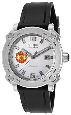 Men's Bulova Watch Stainless Steel AccuSwiss Automatic w/ Silver Dial and Manchester United Crest Bulova Mens Watches, Watches For Men, Cheap Watches, Manchester United, Black Rubber, Watch Sale, Automatic Watch, Watch Brands, Stainless Steel Case