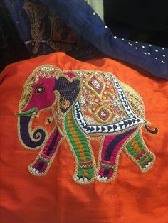Elephant Best Blouse Designs, Simple Blouse Designs, Bridal Blouse Designs, Hand Embroidery Designs, Embroidery Patterns, Hand Work Blouse Design, Zardozi Embroidery, Maggam Work Designs, Sleeves Designs For Dresses