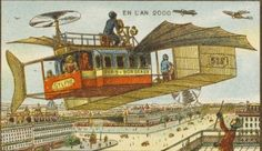 The set of postcards, produced between 1899 and 1910, predict what life would be like in Paris in the year 2000 -   multi-task. (Caters News Agency)              An eccentric version of the early helicopter.