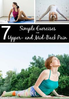 Find out some common causes for upper and middle back pain and simple exercises that can help! (Upper Back Pain) Mid Back Pain, Upper Back Pain, Neck And Back Pain, Back Stretches For Pain, Yoga For Back Pain, Back Exercises, Yoga Exercises, Flexibility Exercises, Back Pain Remedies