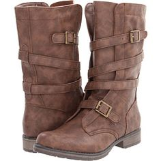 Cool-brown tough mid-calf boots, wrapped and buckled