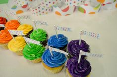 Kids rainbow party decor by Minted.