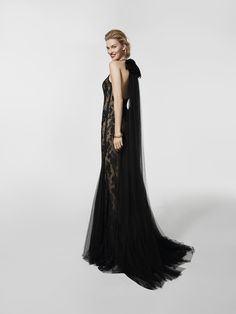 Siyah kokteyl elbisesi fotoğrafı (62060) GRACE uzun kolsuz elbise