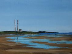 paintings of Sandymount Strand, paintings of the Poolbeg towers, paintings of the chimneys, Dublin paintings. Towers, Dublin, Paintings, Beach, Water, Photos, Outdoor, Ideas, Art