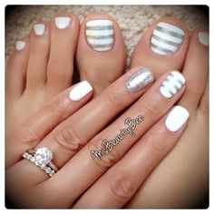White & Silver Striped Nails.  Gelish - Arctic Freeze (White). For the stripes I used Vinyl Tape & Sally Hansen Insta-Dri - Silver Sweep & a little bit of glitter on top.  Accent Glitter Nail - Martha Stewart Silver Glitter scrubbed in.