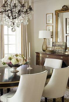 dining room; love the color scheme used; dark wood with neutrals (no white chairs)